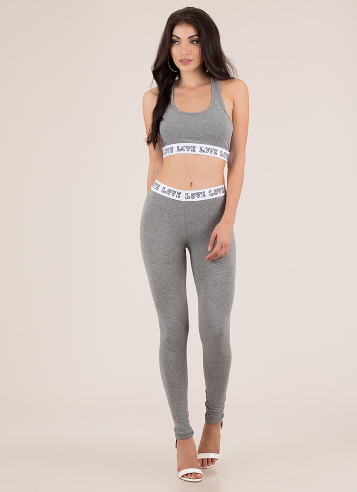 Where Is The Love Graphic Sports Bra Top HGREY (You Saved $5)