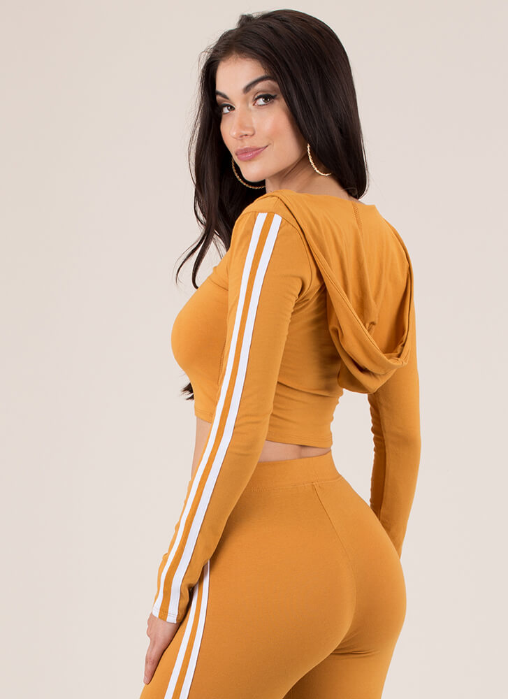 Gotta Run Striped Hooded Crop Top MUSTARD