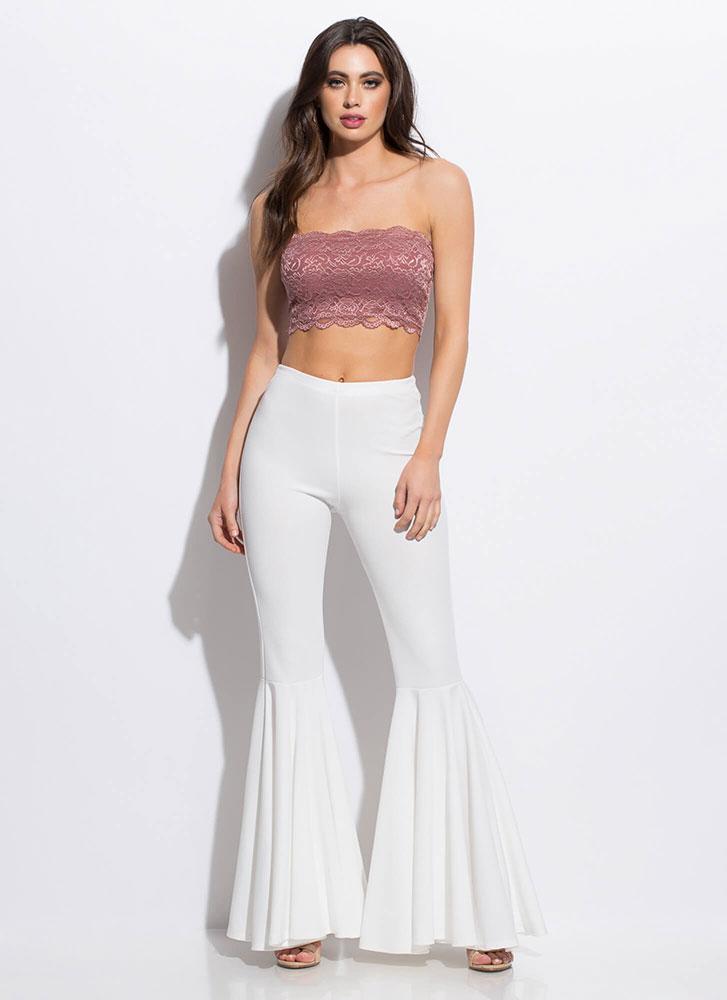 Lace Be Honest Cropped Tube Top MAUVE