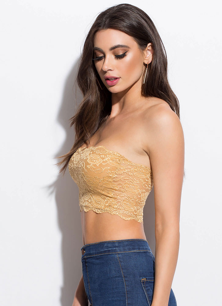 Lace Be Honest Cropped Tube Top MUSTARD
