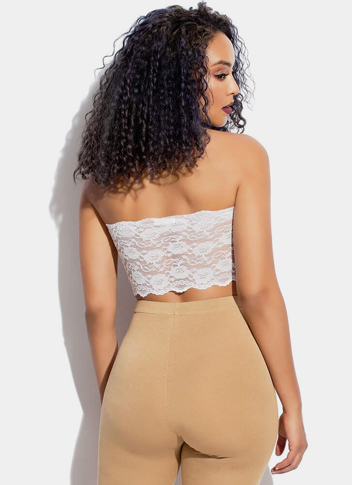 Lace Be Honest Cropped Tube Top WHITE