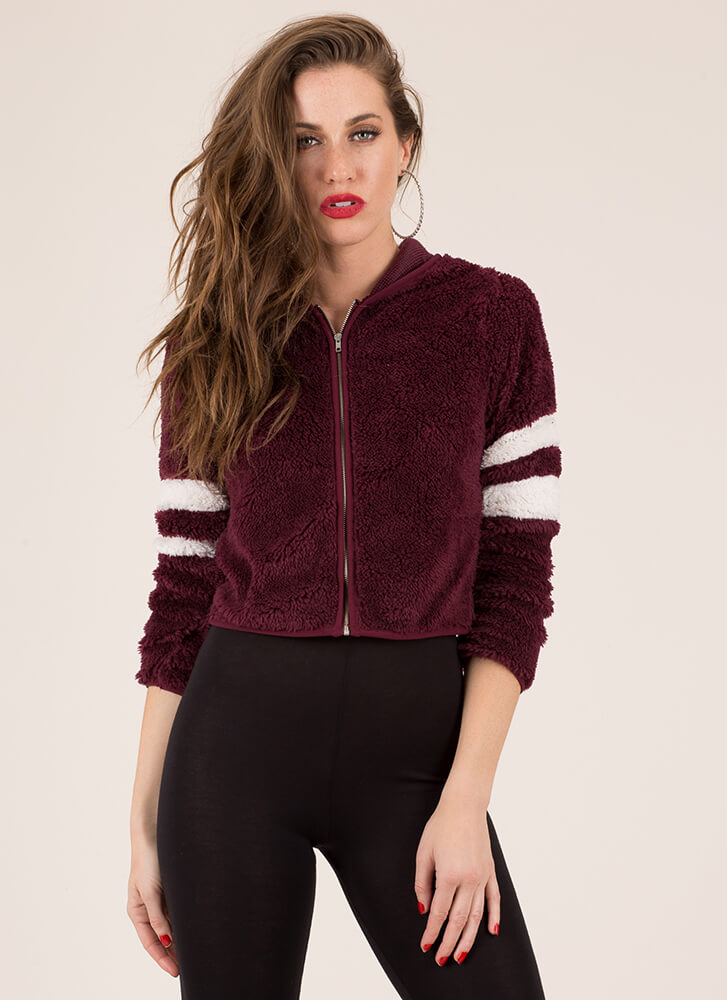 Make A Big Fuzz Furry Striped Jacket BURGUNDY