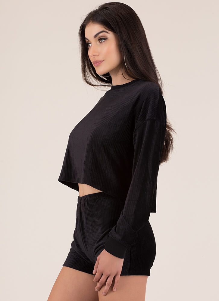 Soft And Velvety 2-Piece Corduroy Set BLACK (Final Sale)