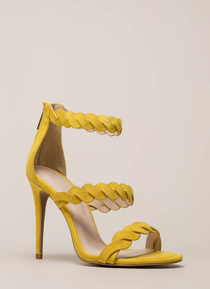 Tug Of War Twisted Rope Strap Heels YELLOW