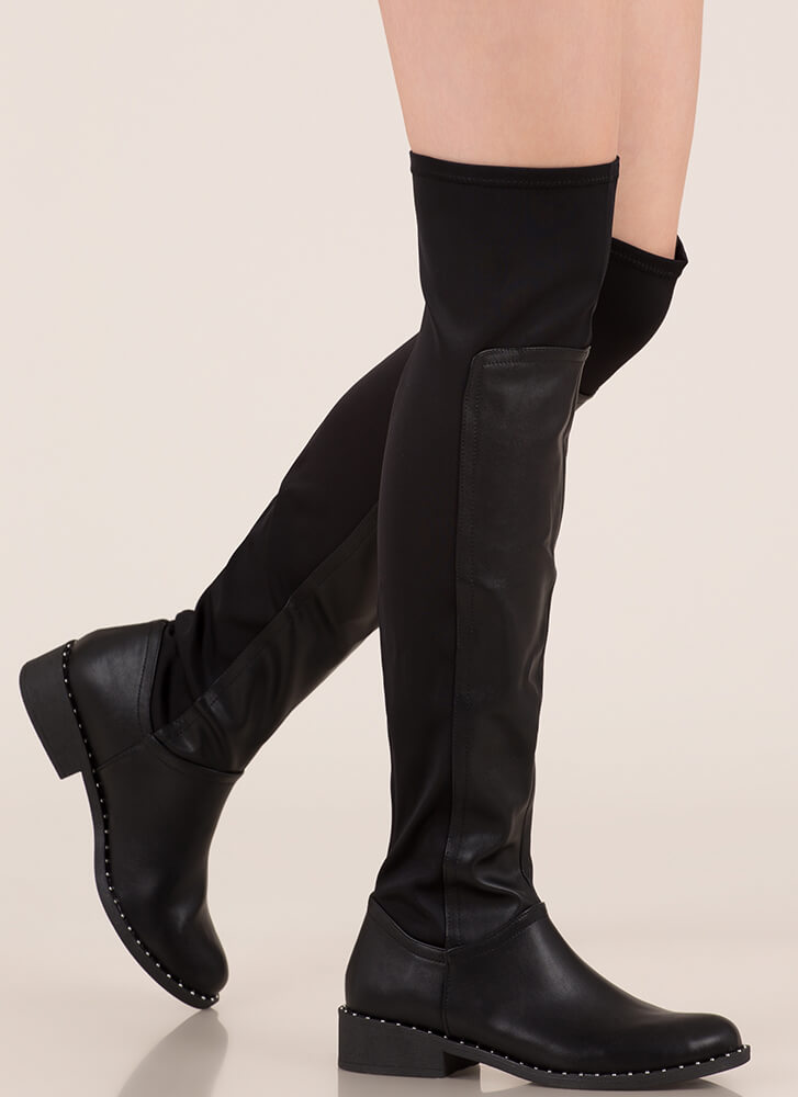 Stretch First Studded Thigh-High Boots BLACK