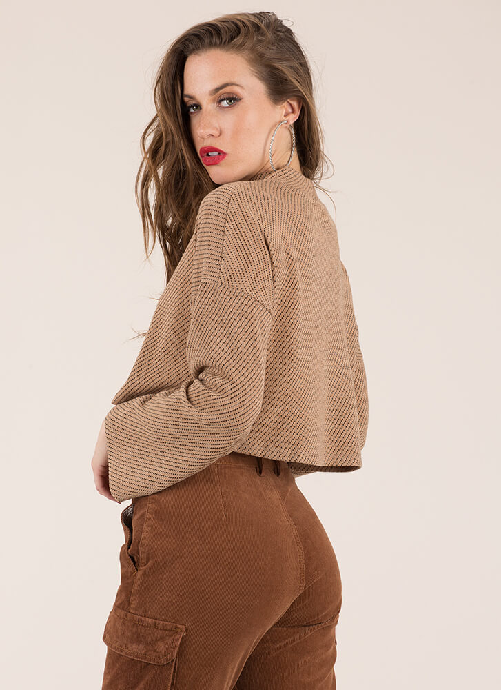 The Whole Wide World Knit Crop Top BEIGE