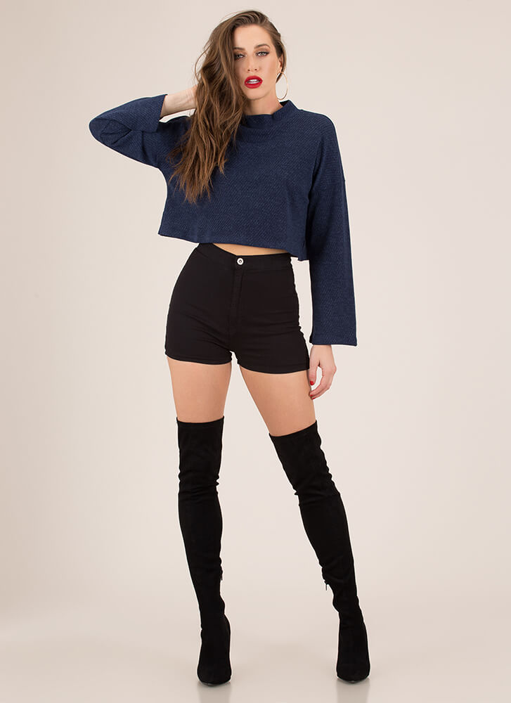 The Whole Wide World Knit Crop Top NAVY