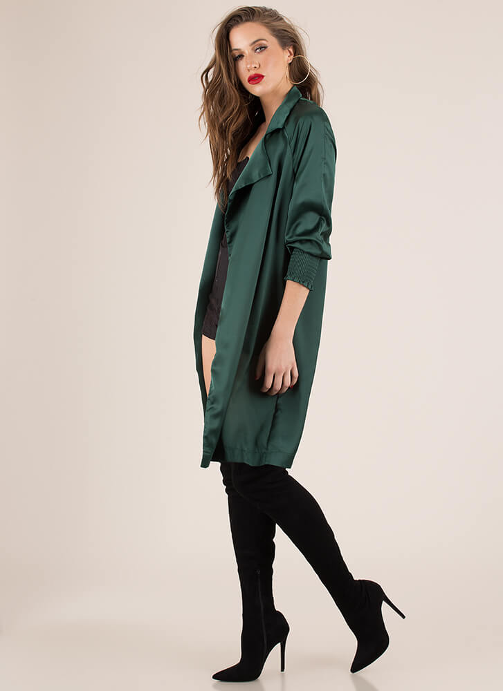 Pardon My Trench Tied Satin Duster HGREEN