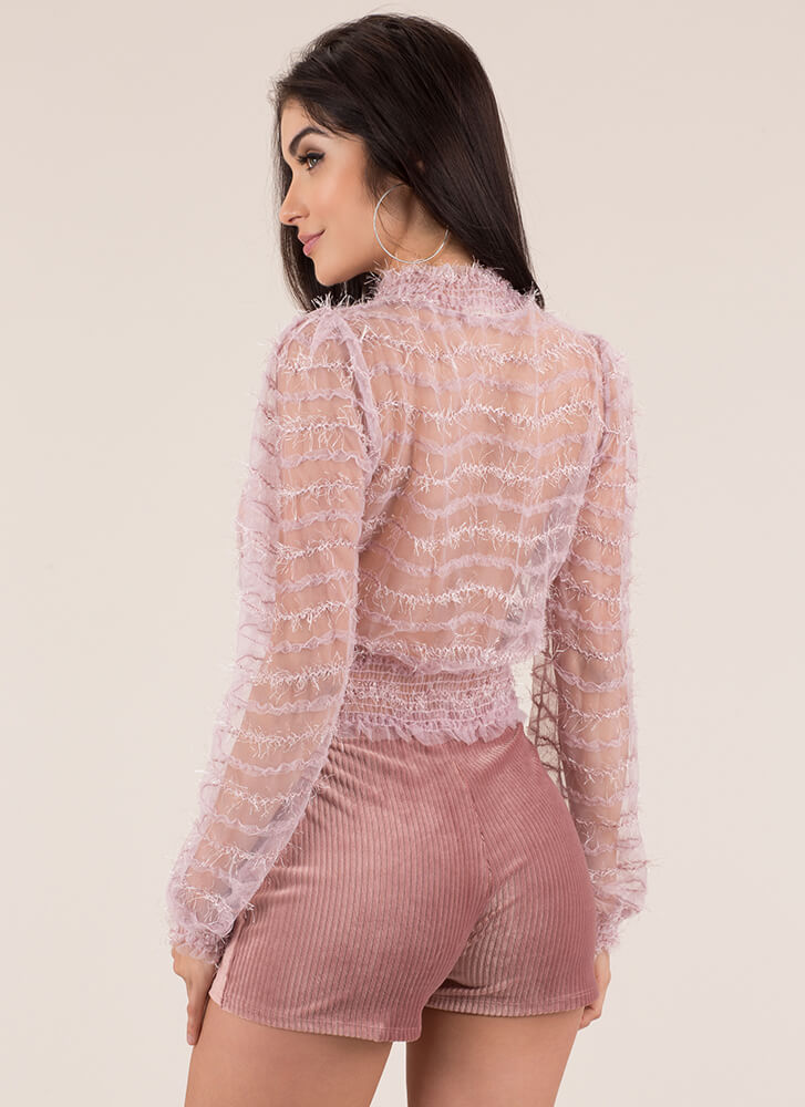 Sheer Beauty Fringed Striped Lace Top MAUVE