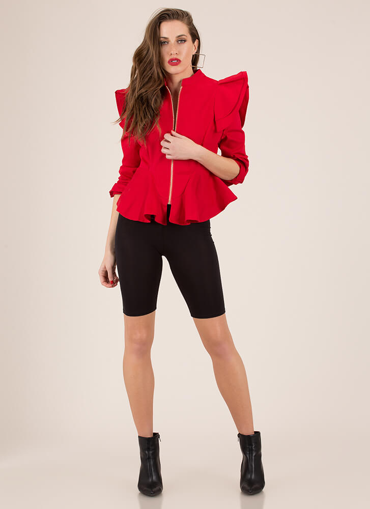 Fashion Armor Ruffled Zip-Front Top RED