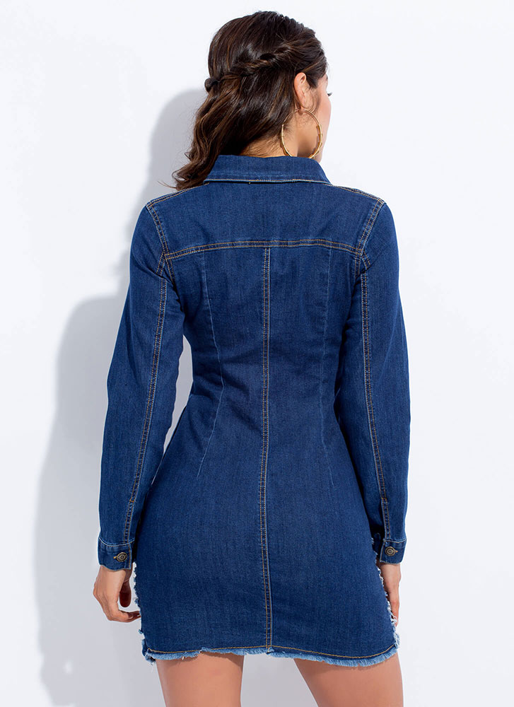 Slashback Saturday Destroyed Denim Dress BLUE
