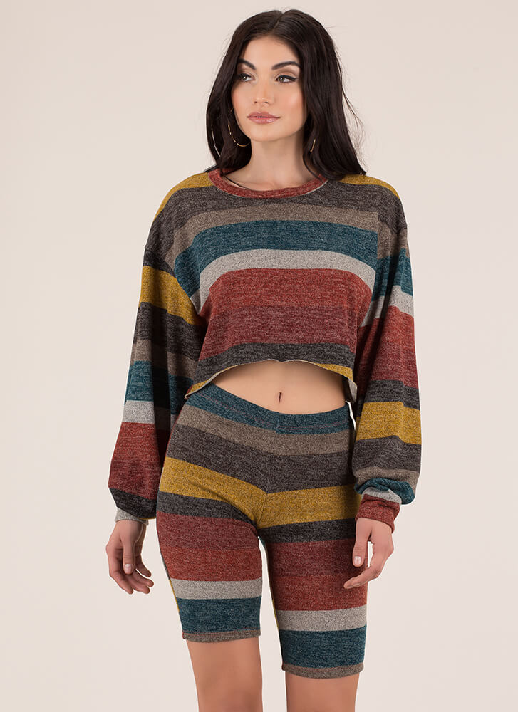 Knit Girl Striped Top And Shorts Set MULTI