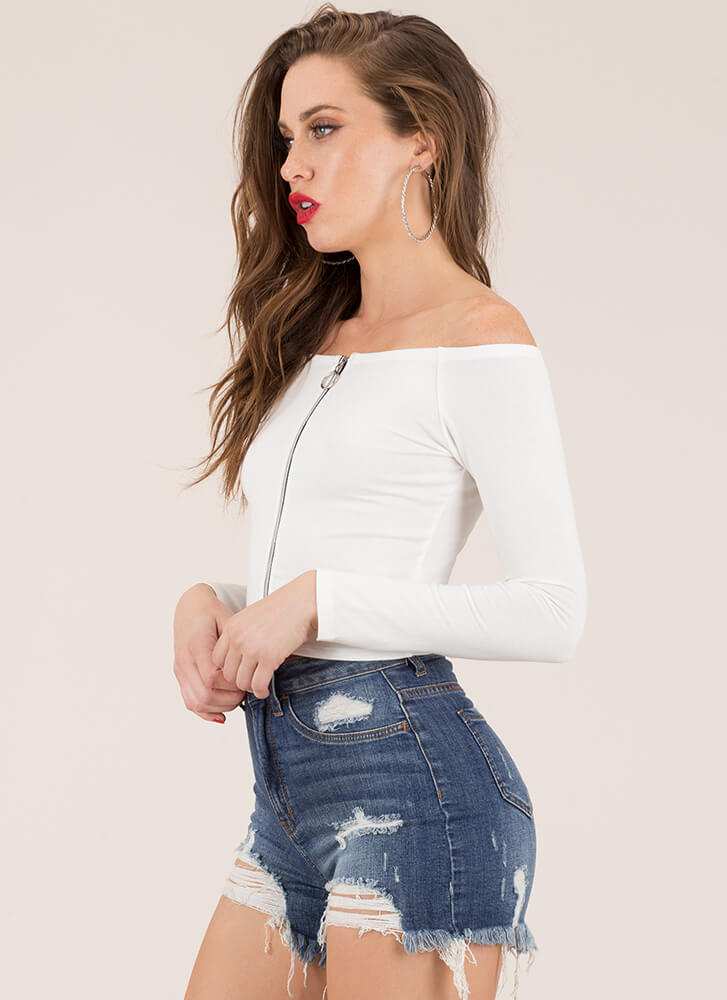 Sunday Off-Shoulder Zip-Front Crop Top WHITE (You Saved $7)