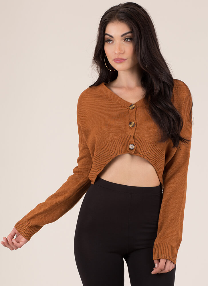 Sorry Grandma Cropped Button-Up Sweater CAMEL