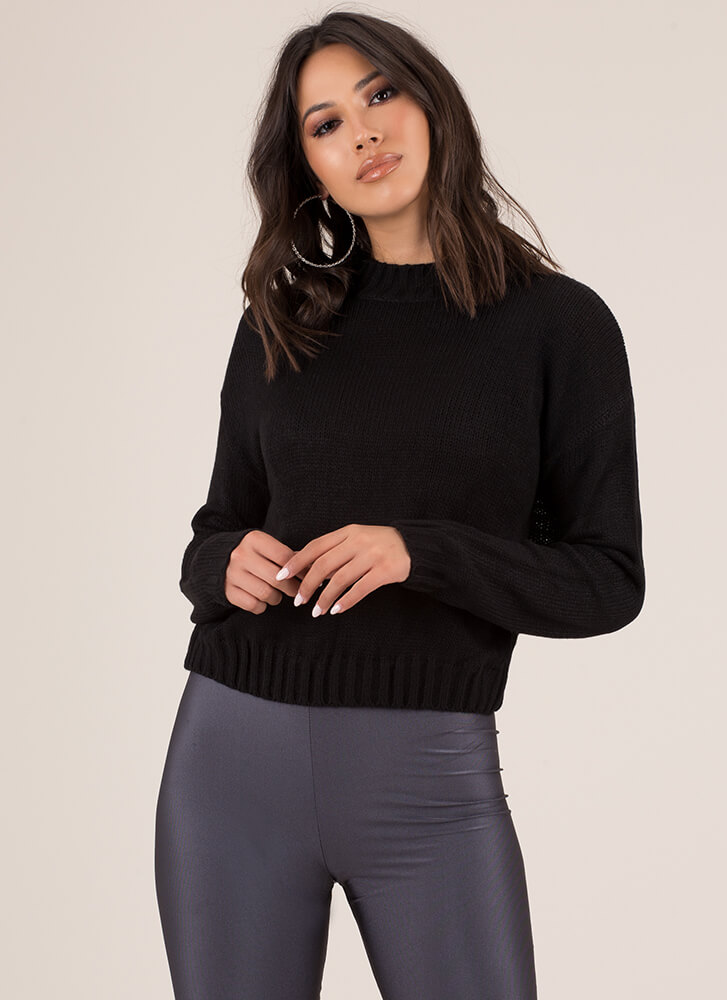 Knits For Days Ribbed Trim Sweater BLACK