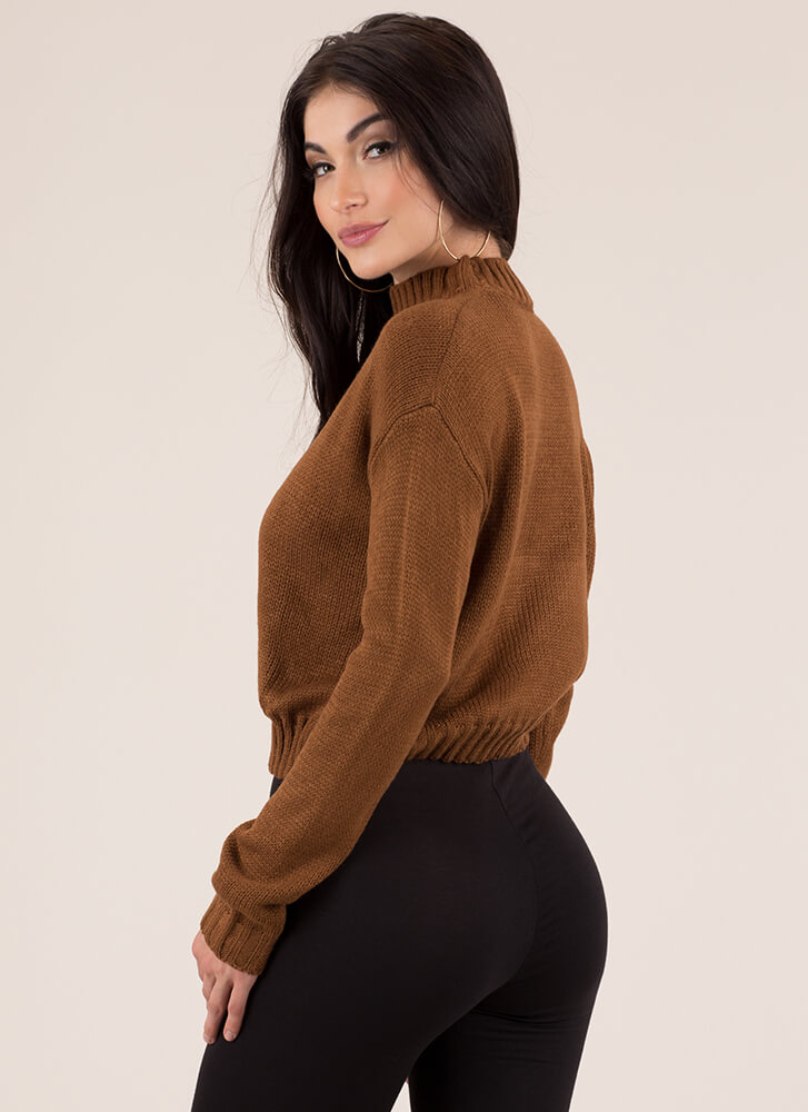 Knits For Days Ribbed Trim Sweater CAMEL