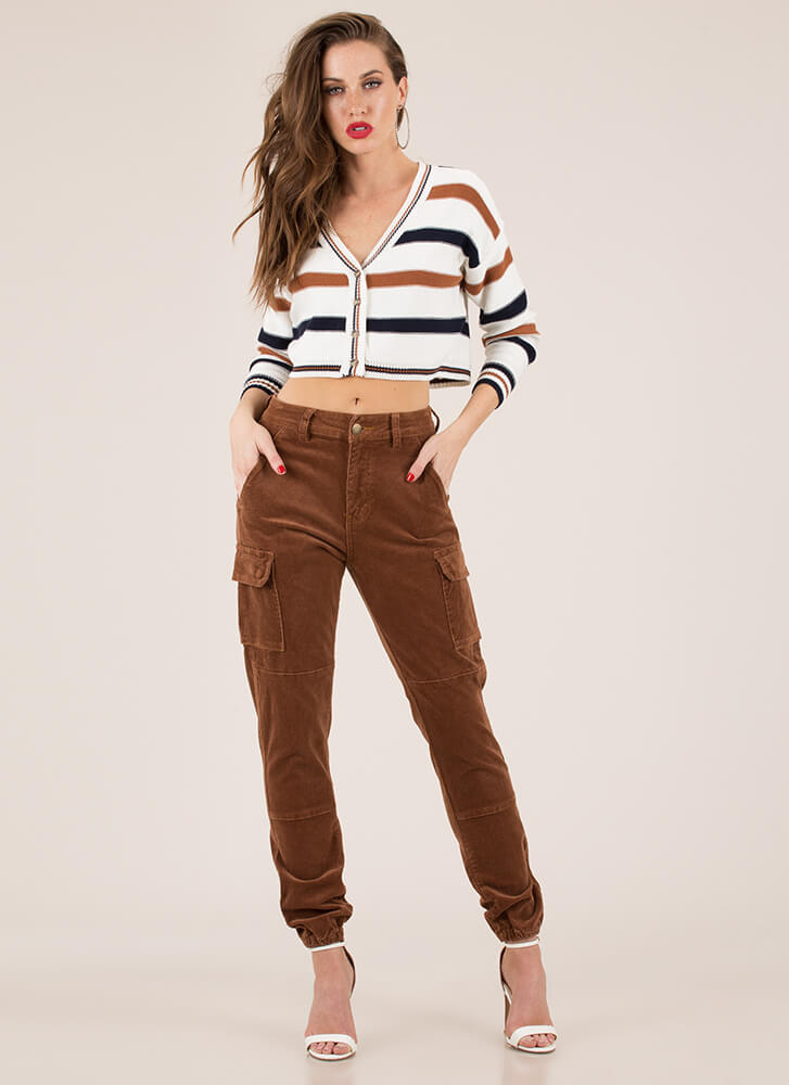 Preppy Chic Striped Cropped Cardigan IVORY