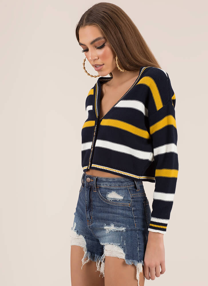 Preppy Chic Striped Cropped Cardigan NAVY