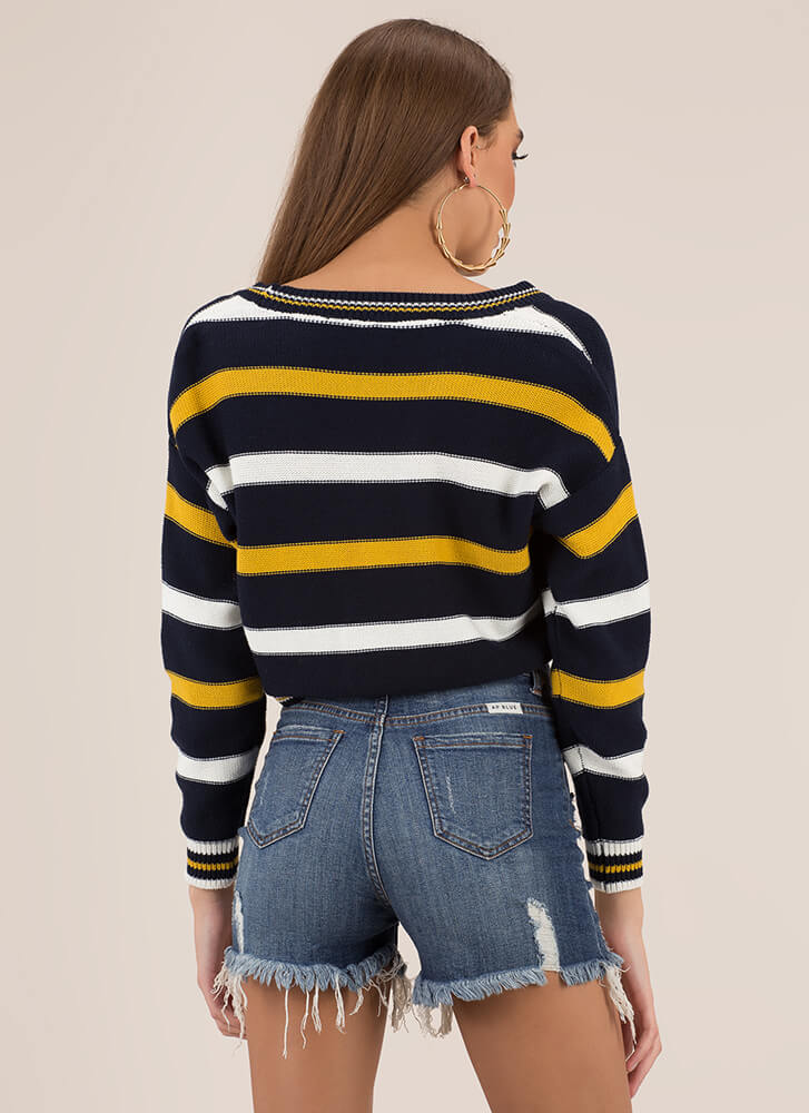 Preppy Chic Striped Cropped Cardigan NAVY (You Saved $17)