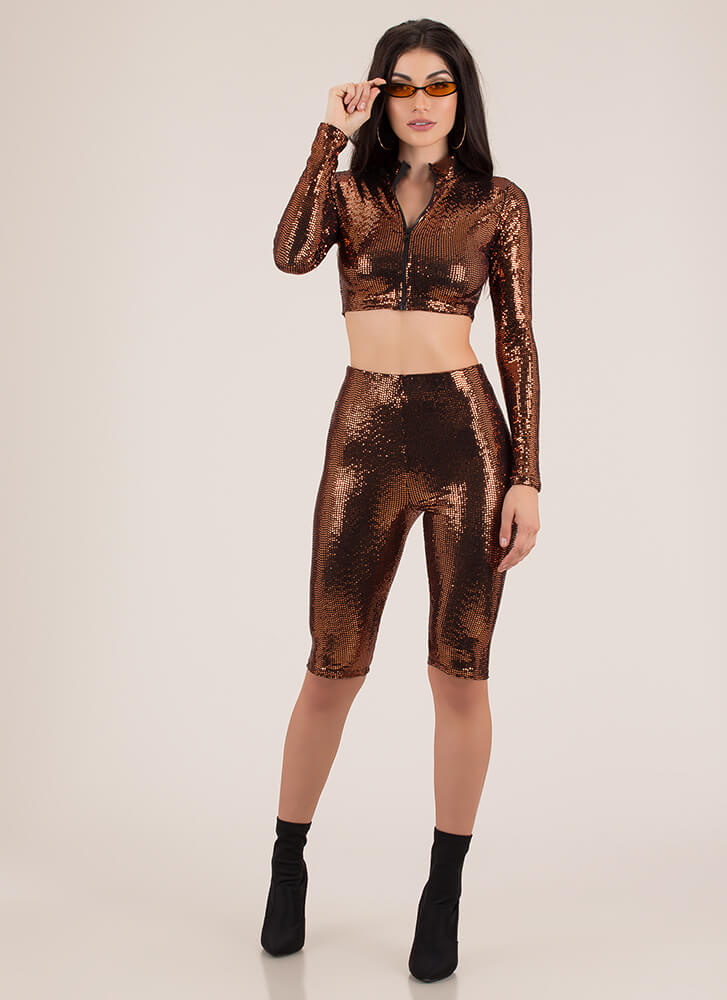 Sporting Sequins Top And Shorts Set RUST
