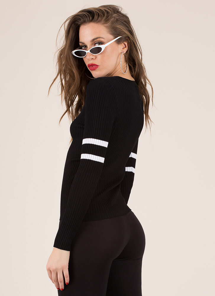 Make Varsity Striped Rib Knit Top BLACK