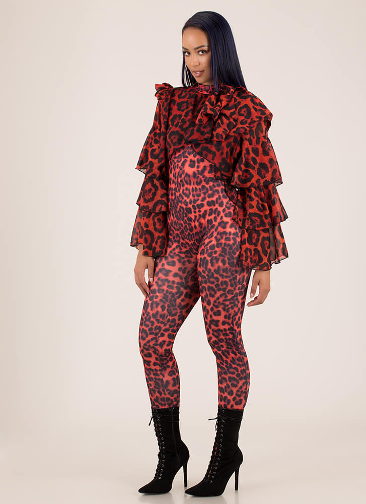 Leopard For Days Ruffle Sleeve Jumpsuit RED (You Saved $33)
