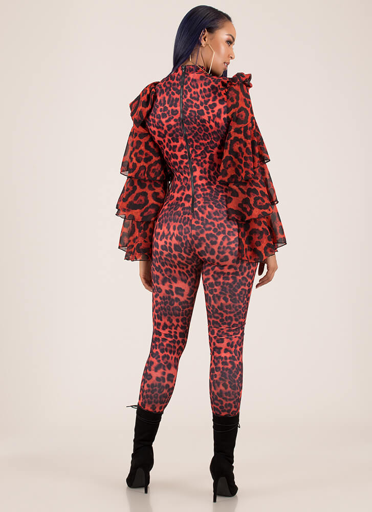 Leopard For Days Ruffle Sleeve Jumpsuit RED