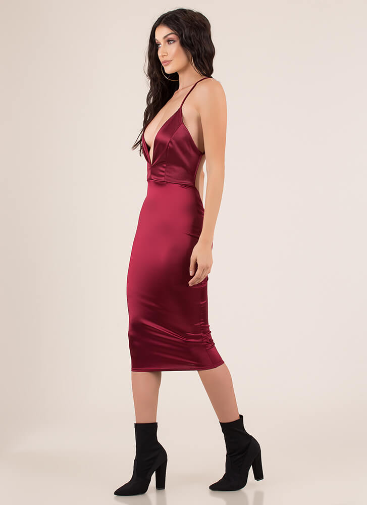 How Low Can You Go Plunging Satin Dress BURGUNDY (You Saved $21)