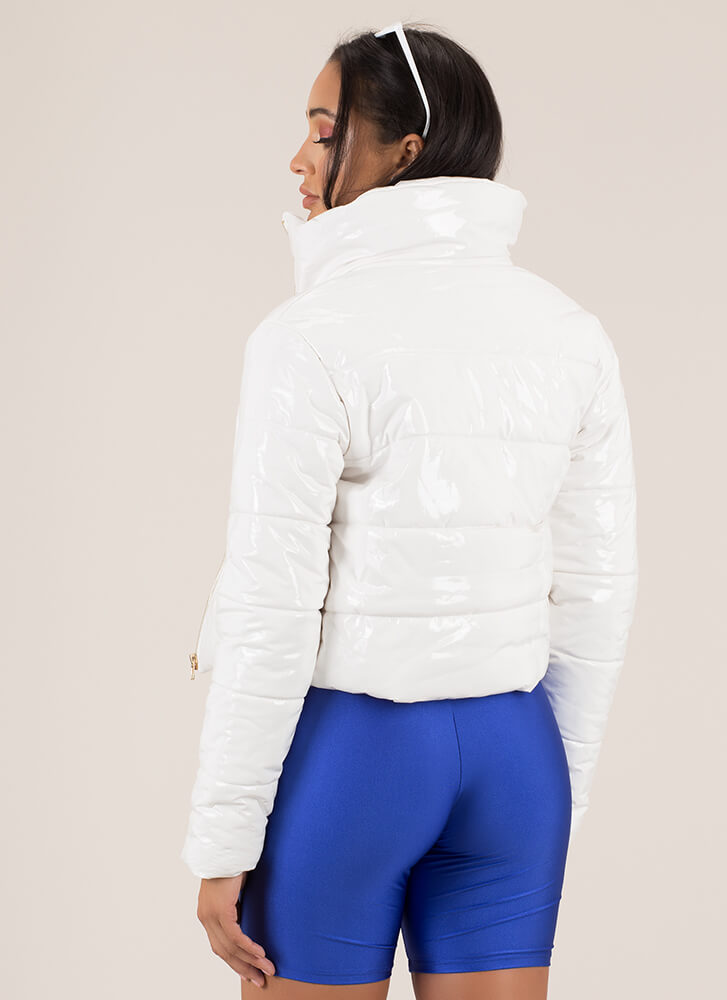Puff Piece Quilted Faux Patent Jacket WHITE