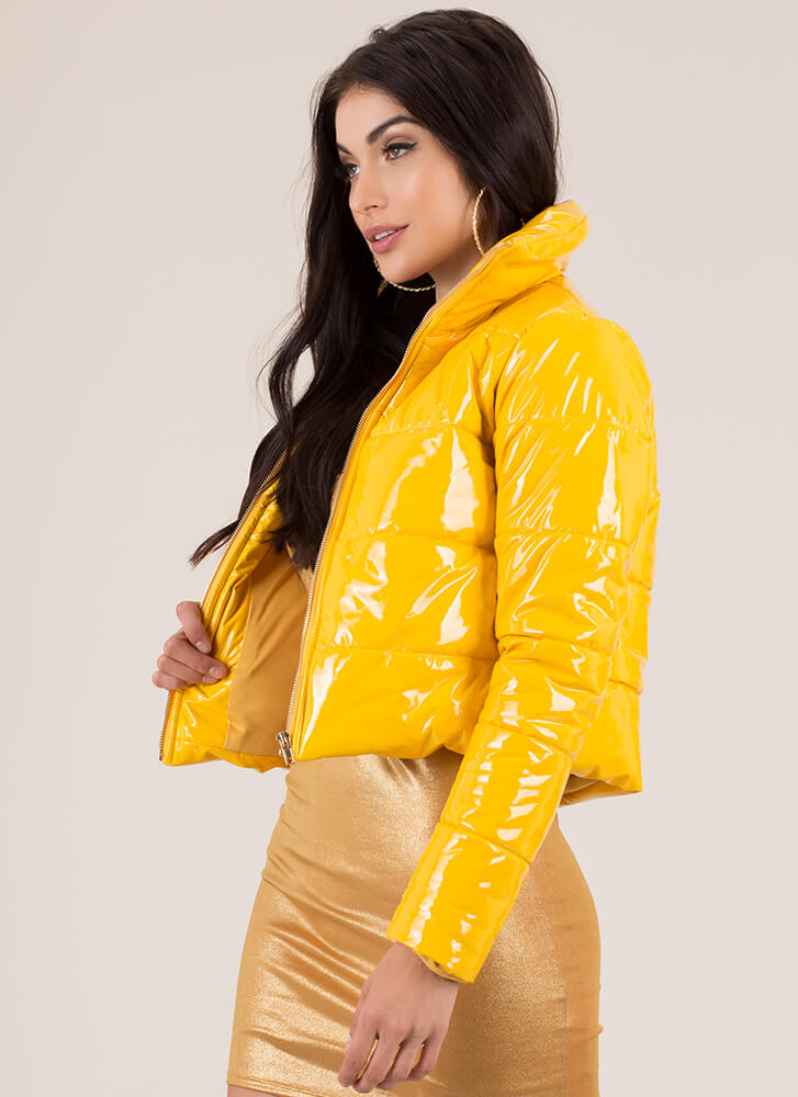 Puff Piece Quilted Faux Patent Jacket YELLOW (You Saved $67)