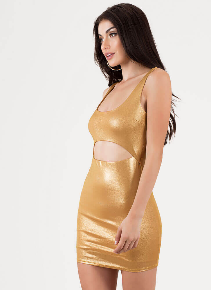 Outshine Me Cut-Out Metallic Minidress GOLD