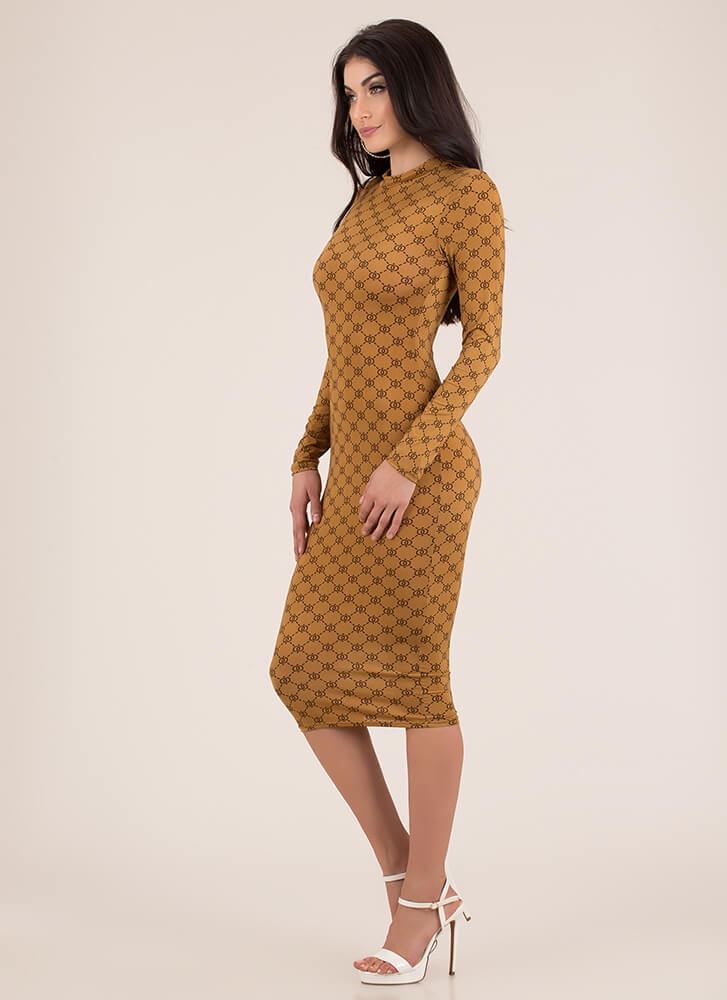 Luxe Be A Lady Patterned Midi Dress BROWN