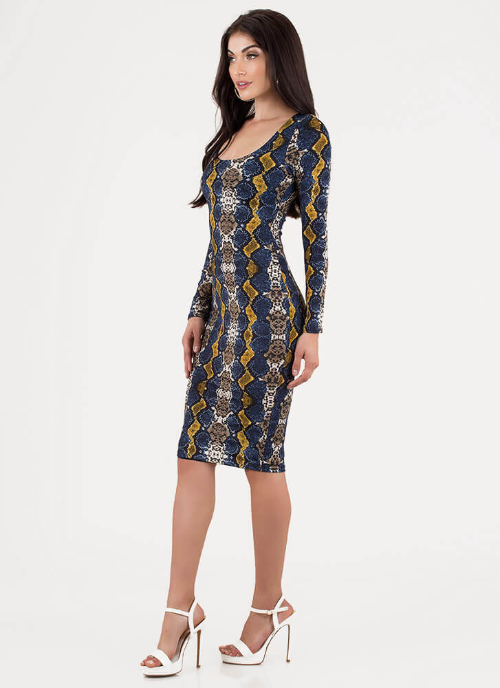 Pretty In Python Snake Print Midi Dress BLUEMULTI