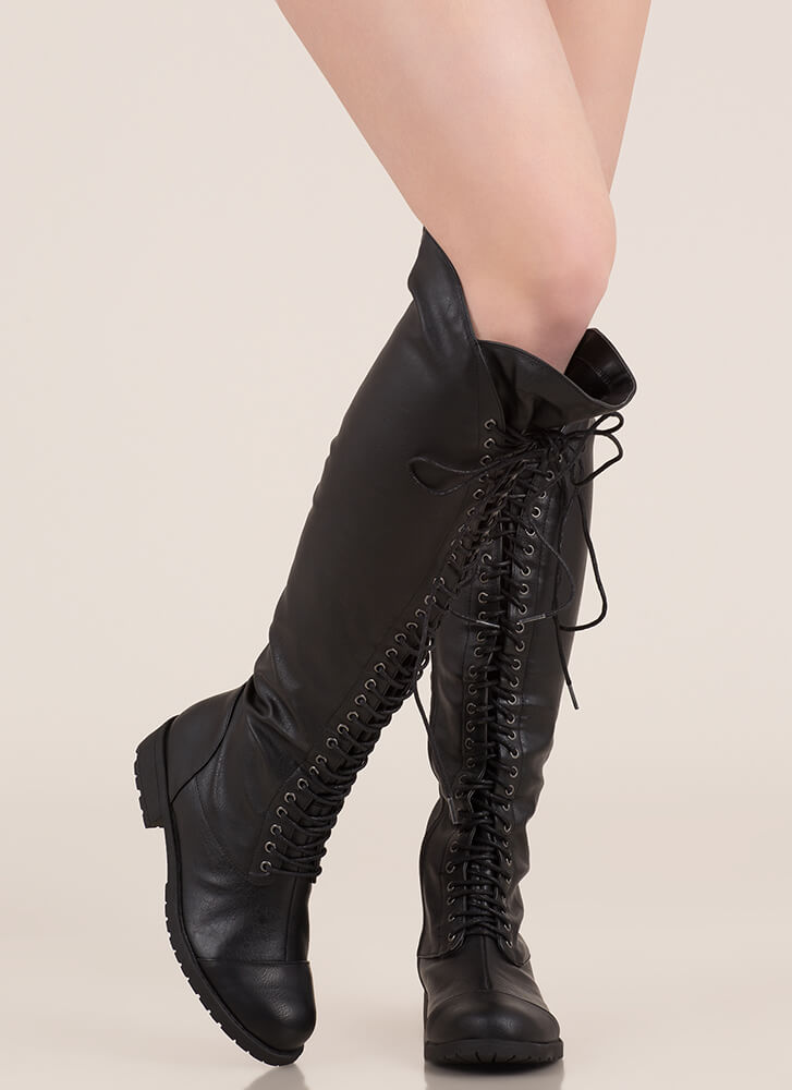 All The Way Lace-Up Thigh-High Boots BLACK