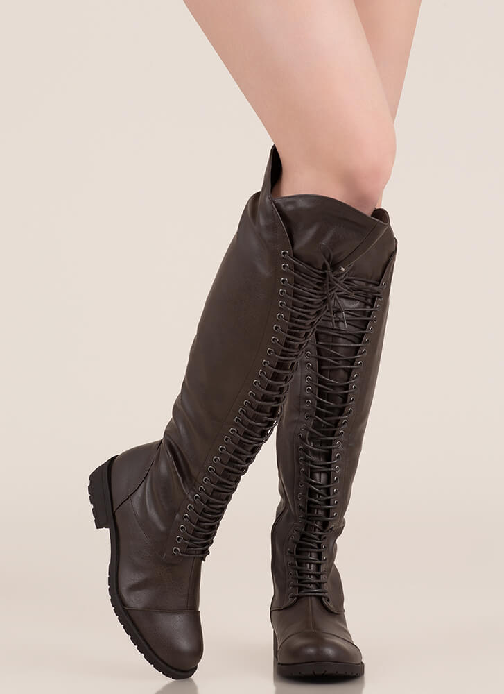 All The Way Lace-Up Thigh-High Boots BROWN