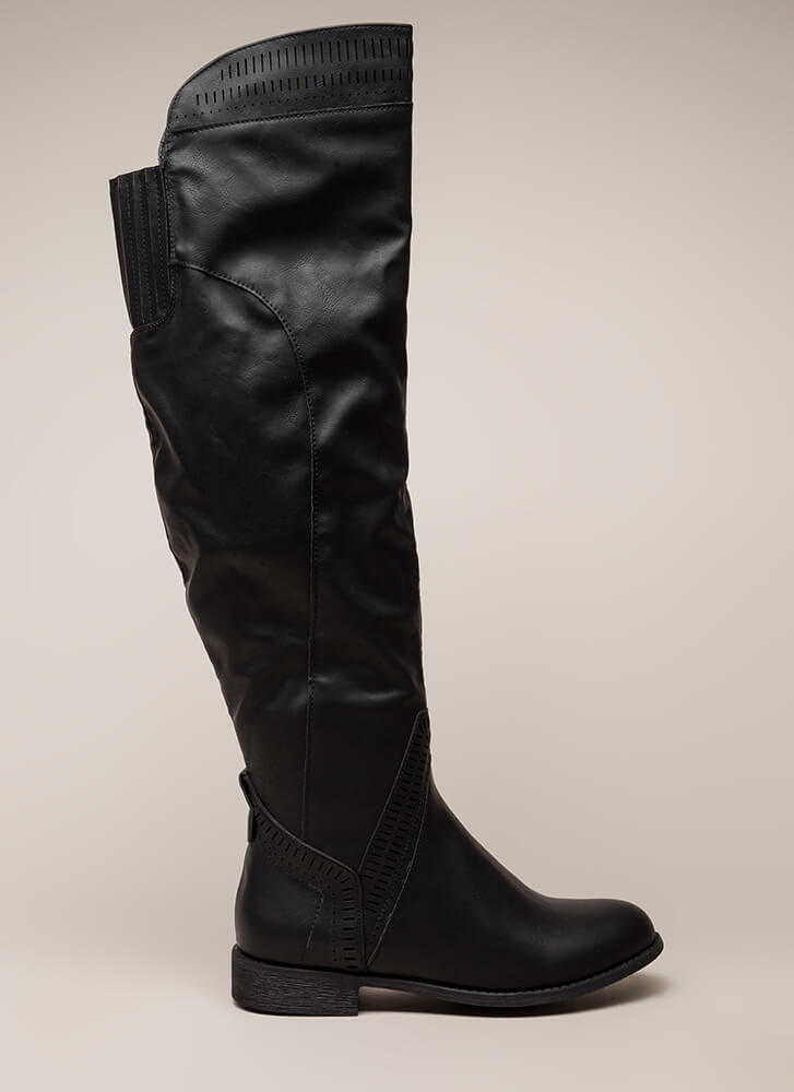 Southwest Perforated Thigh-High Boots BLACK