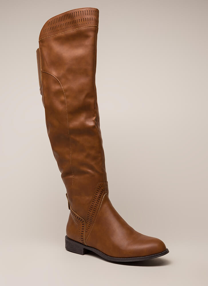 Southwest Perforated Thigh-High Boots COGNAC
