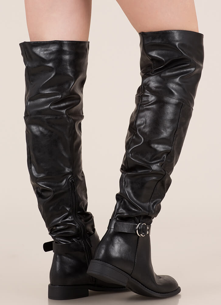 Round 'Em Up Slouchy Thigh-High Boots BLACK