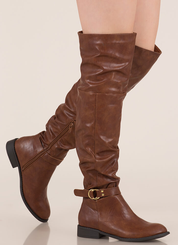 Round 'Em Up Slouchy Thigh-High Boots COGNAC