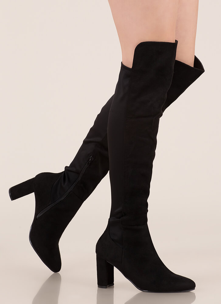 Back Here Chunky Thigh-High Boots BLACK
