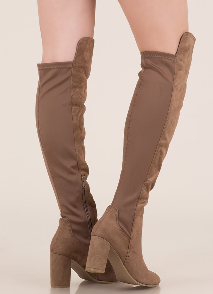 Back Here Chunky Thigh-High Boots TAUPE