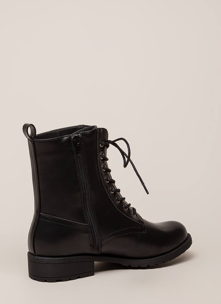 Smooth Things Over Combat Boots BLACK (You Saved $29)