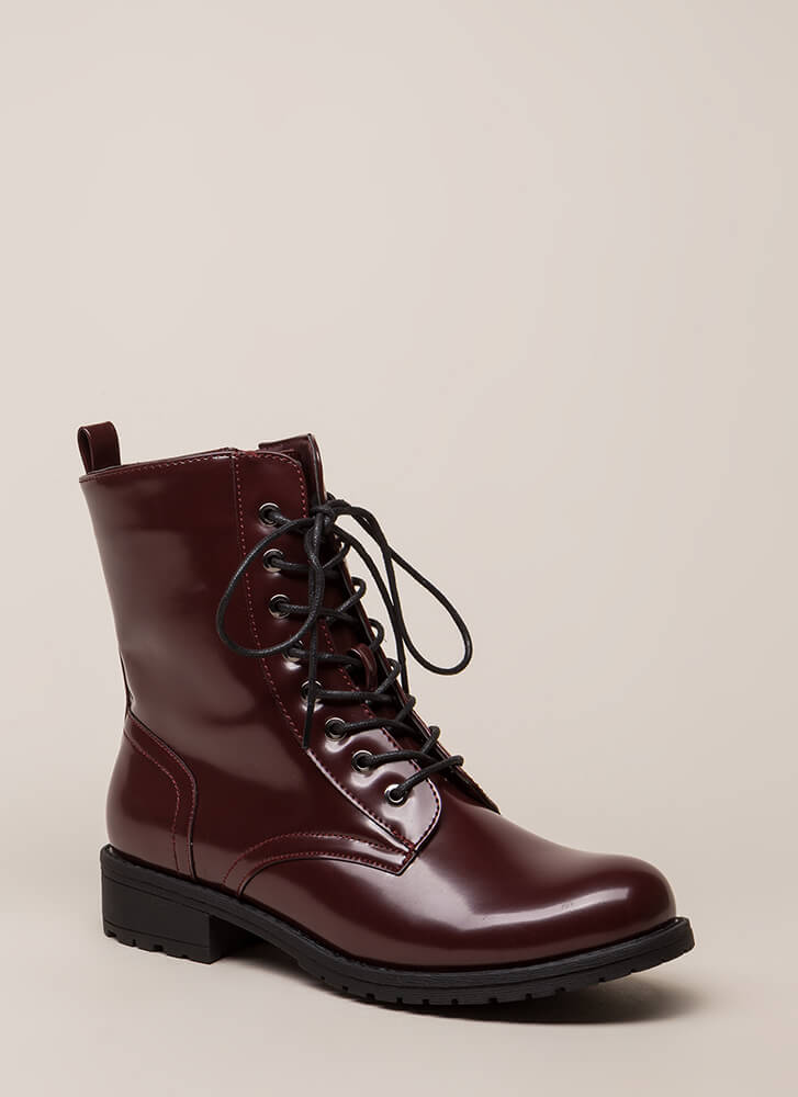 Smooth Things Over Combat Boots OXBLOOD