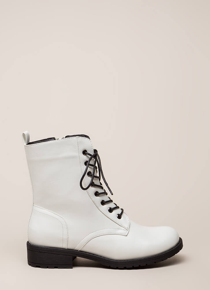 Smooth Things Over Combat Boots WHITE