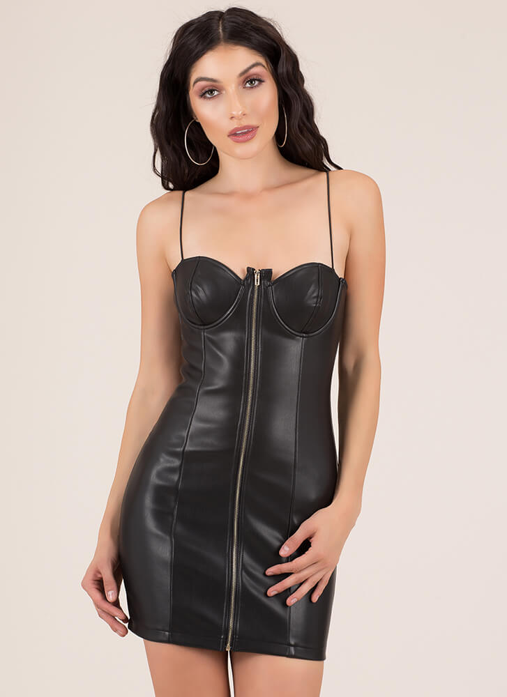 Young And Wild Zip-Up Faux Leather Dress BLACK (You Saved $29)