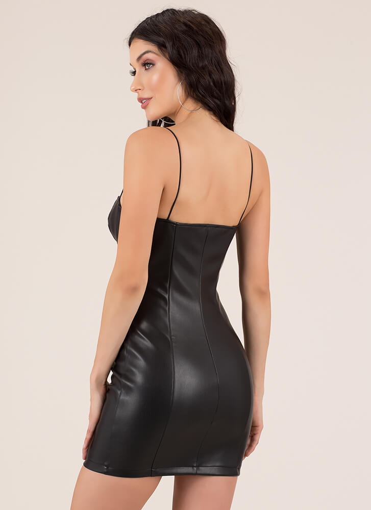 Young And Wild Zip-Up Faux Leather Dress BLACK