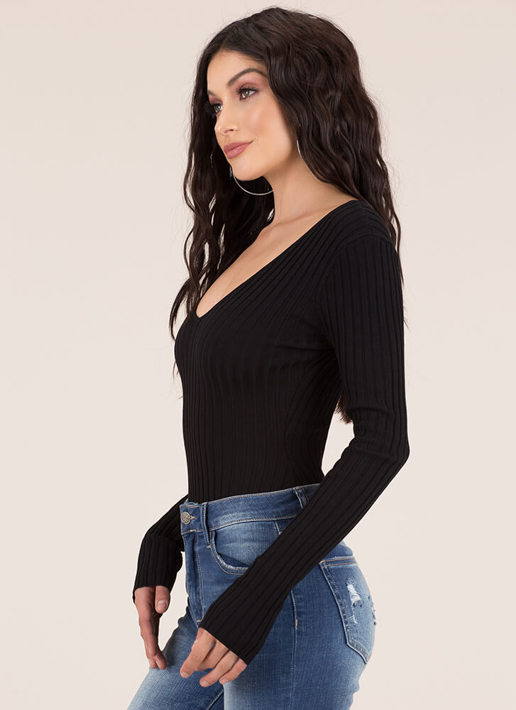 One In A Million Rib Knit Bodysuit BLACK