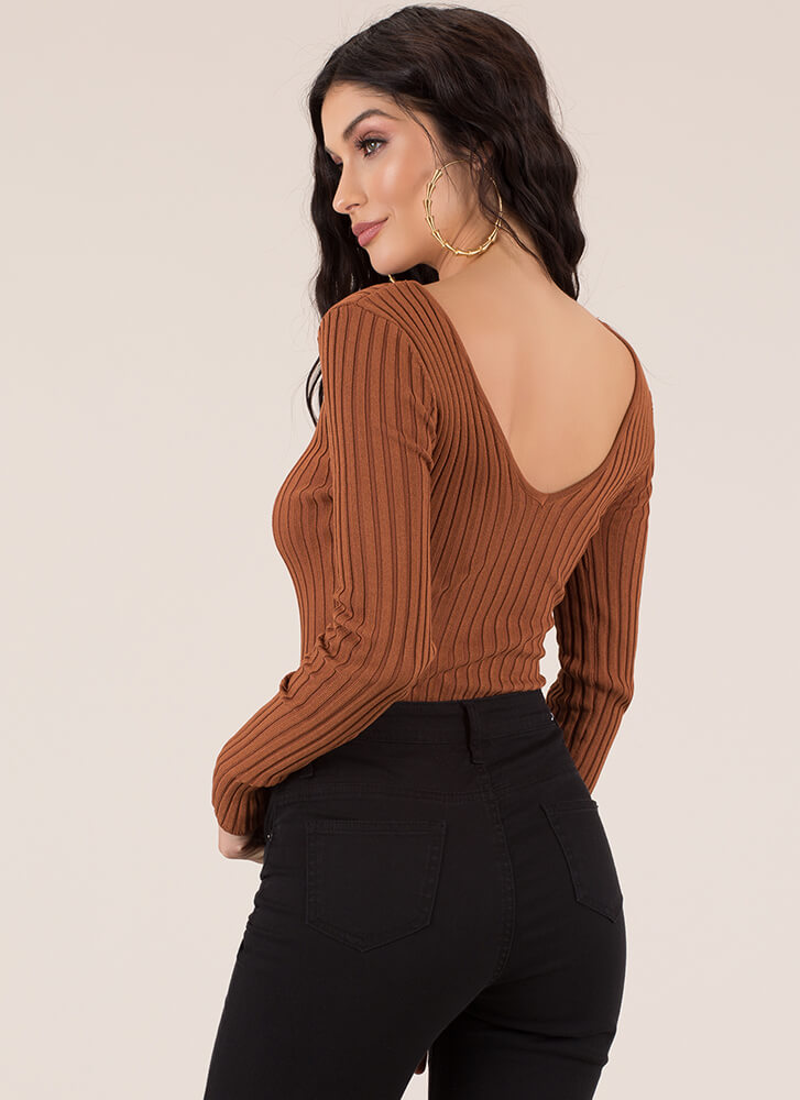One In A Million Rib Knit Bodysuit RUST