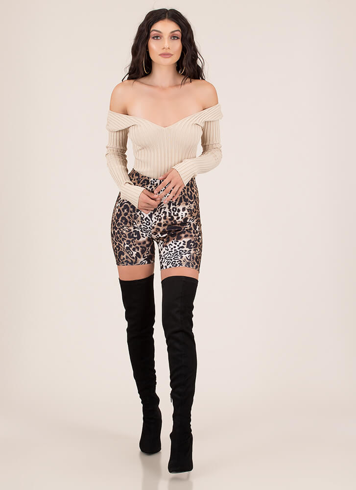 One In A Million Rib Knit Bodysuit TAUPE