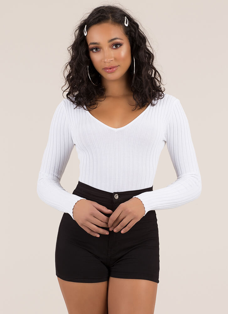 One In A Million Rib Knit Bodysuit WHITE